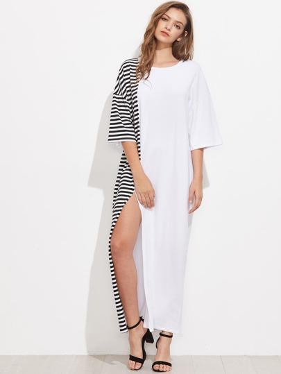 Vestido de rayas con hombros caídos y abertura