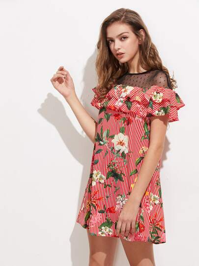 Dot Mesh Yoke Layered Flounce Mixed Print Dress