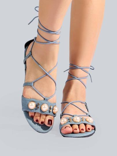 Denim Pearl Wrap Up Sandals DENIM