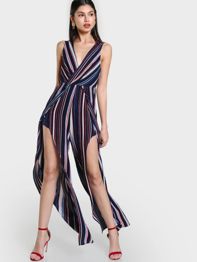 Striped Open Back Tie Up Jumpsuit NAVY