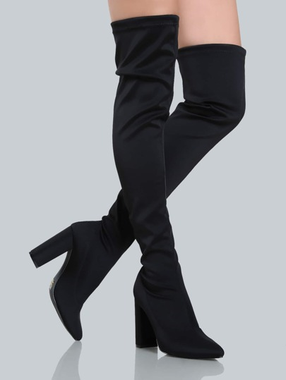 Sleek Closed Toe Thigh Highs BLACK
