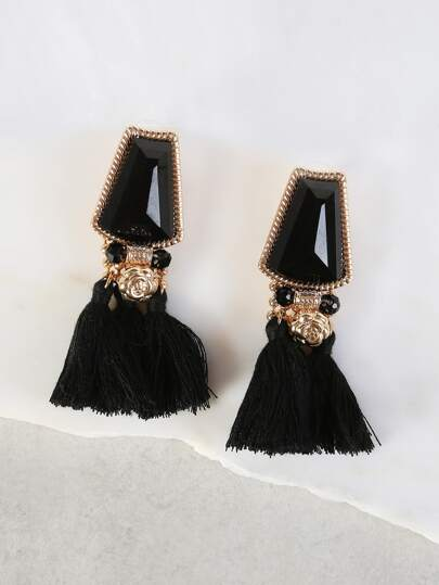 Stone & Dangling Tassel Earrings GOLD BLACK