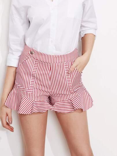 Shorts mit Falten,Knöpfen, Träger und Tasche