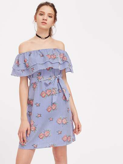Flounce Layered Neckline Vertical Striped Florals Dress