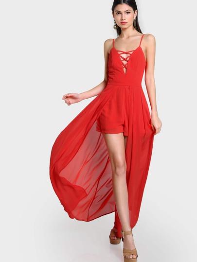 Lace Up Spaghetti Strap Romper Dress CORAL
