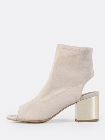 Faux Suede Peep Toe Bootie IVORY