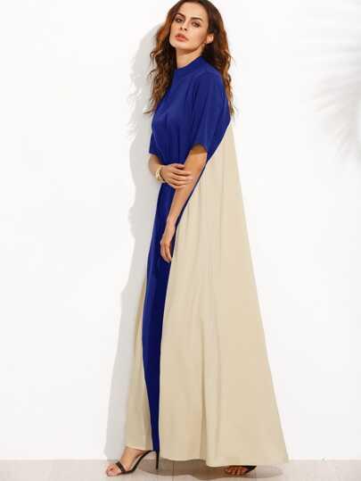 Color Block Mock Neck Floor Length Tent Dress
