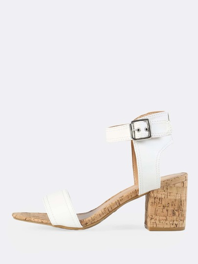Cork Heel Single Band Heeled Sandal WHITE