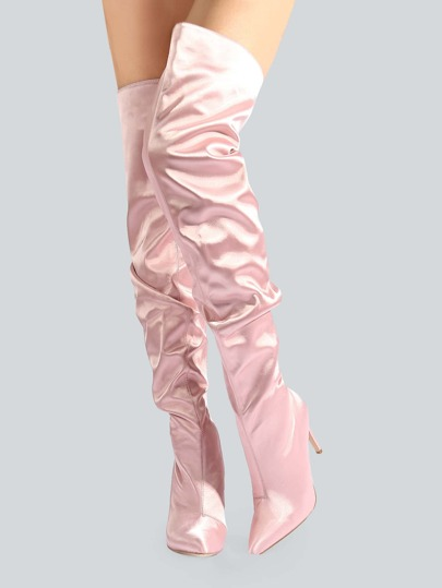 Satin Ruched Thigh High Booties BLUSH