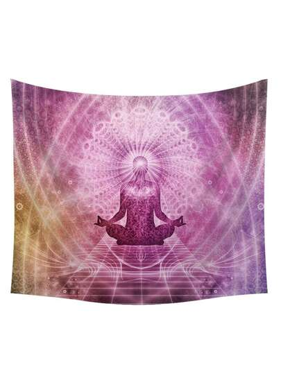 Buddhism & Galaxy Print Tapestry