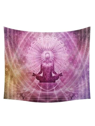 Arazzo con stampa di buddismo & galassia