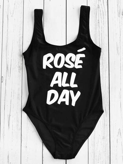 Slogan Print High Leg Swimsuit