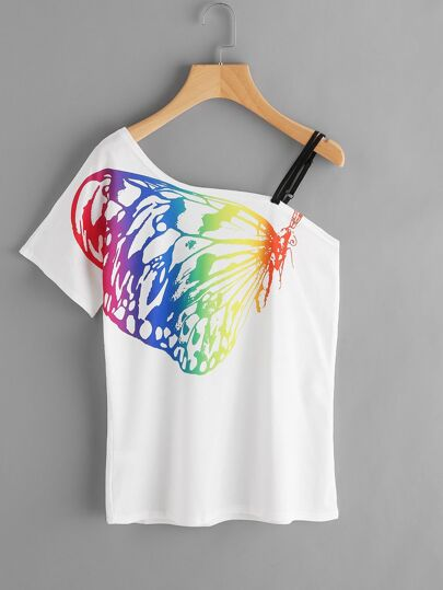 Tee-shirt épaule biseauté imprimé des papillons avec bretelle