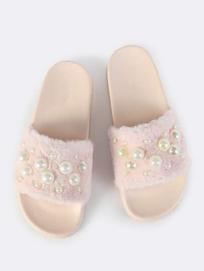 Fuzzy Pearl Slip Ons BLUSH
