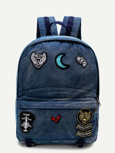 Moon Patch Denim Backpack