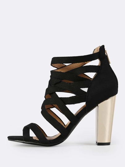 Caged Denim Metallic Heel BLACK DENIM