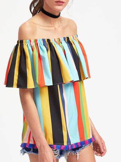Fringe Trim Striped Flounce Off Shoulder Top