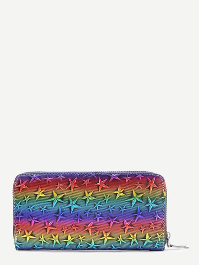Star Decorated Iridescent PU Wallet