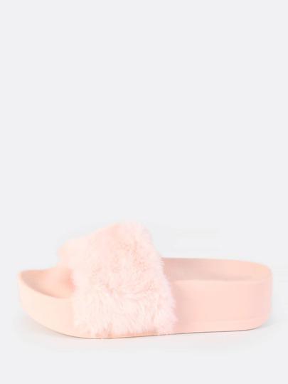 Fuzzy Flatform Slides PINK