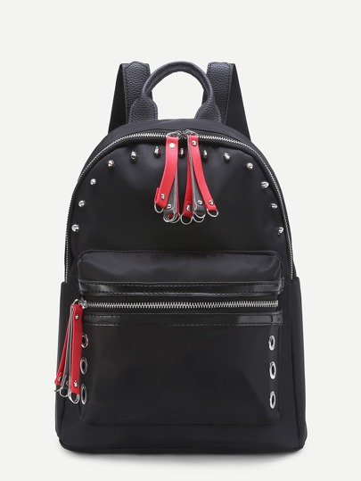 Contrast Zipper Nylon Backpack With Studded