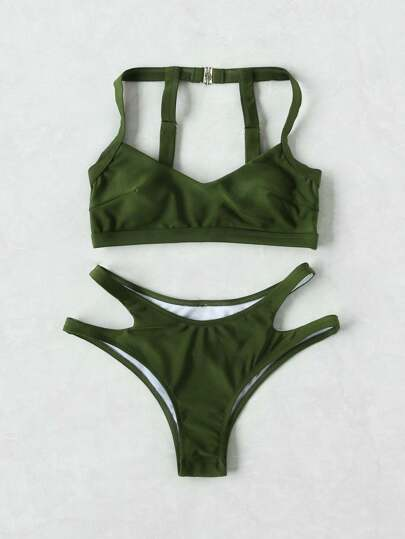 Cut Out Strap Detail Back Bikini Set