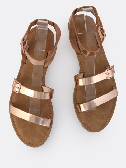 Metallic Open Toe Sandals ROSE GOLD