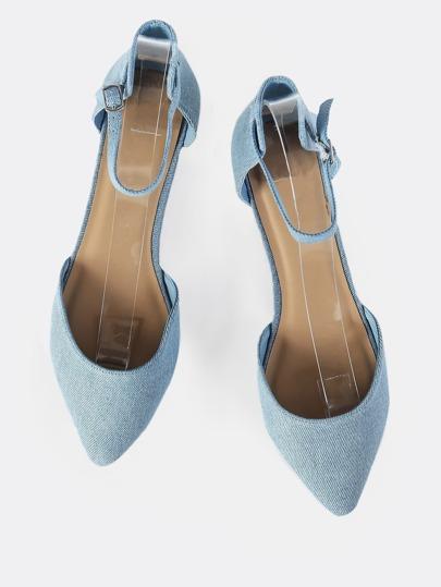 Pointy Toe Ankle Strap Denim Flats DENIM