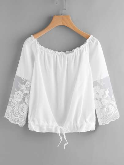Frill Detail Lace Sleeve Blouse