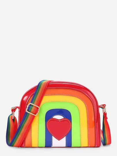 Heart Patch Rainbow Shaped PU Shoulder Bag