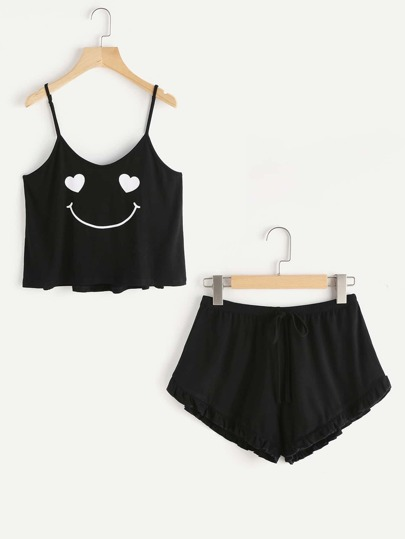 Emoji Print Cami And Ruffle Shorts Pajama Set