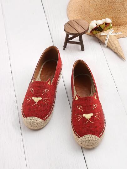 Embroidery Cap Toe Espadrille Flats