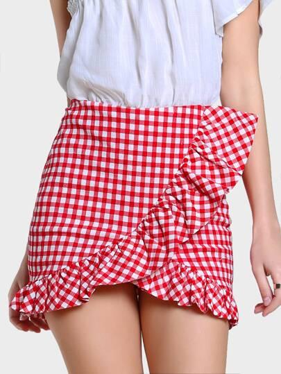 Ruffle Gingham Skirt RED