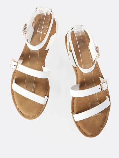 Double Buckle Dainty Sandals WHITE