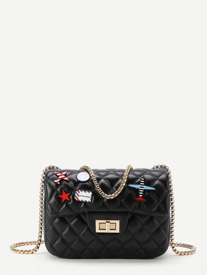 Star And Airplane Patch Quilted PU Bag