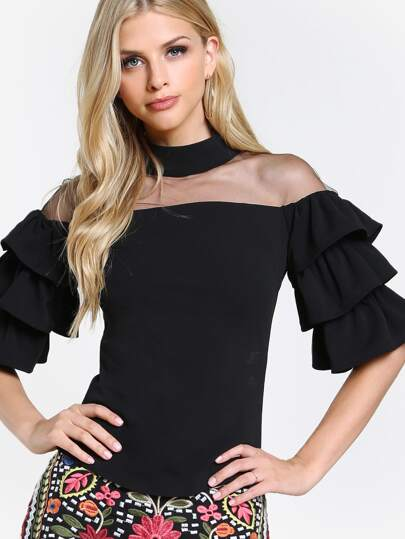 Mesh Cut Out Layered Sleeve Top BLACK