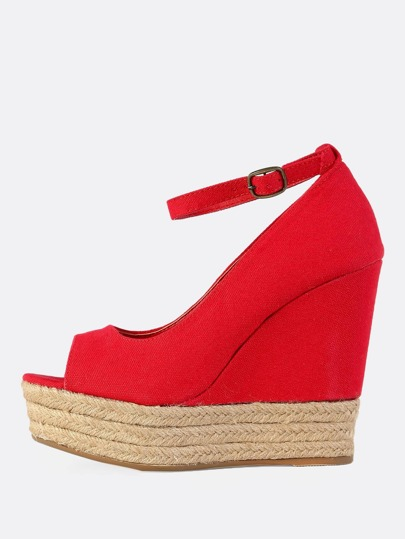 Peep Toe Espadrilles Wedges RED