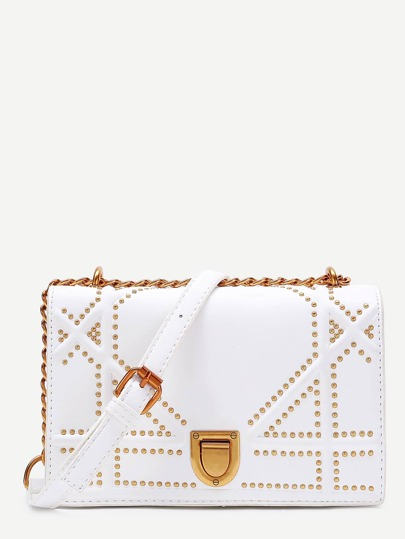 Studded Detail Flap PU Crossbody Bag