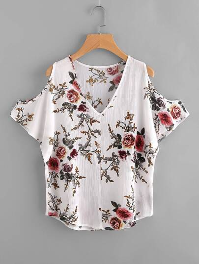 V Neckline Open Shoulder Florals Blouse