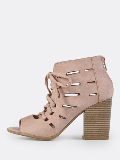Caged Lace Up Booties DARK MAUVE