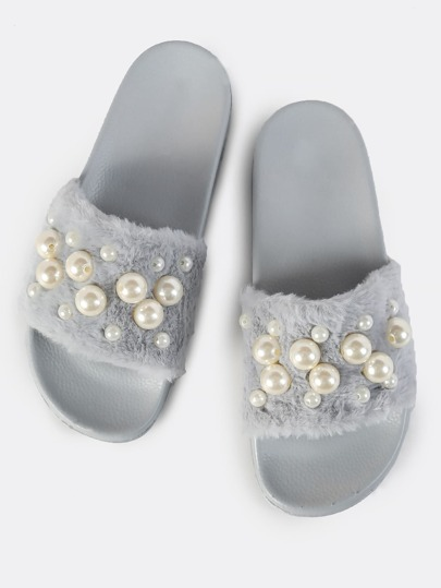 Furry Pearl Slides GREY