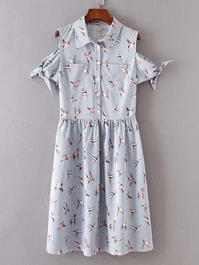 Open Shoulder Pinstripe Knot Detail Shirt Dress