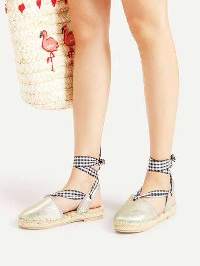 Lace Up PU Flats With Grid Strap