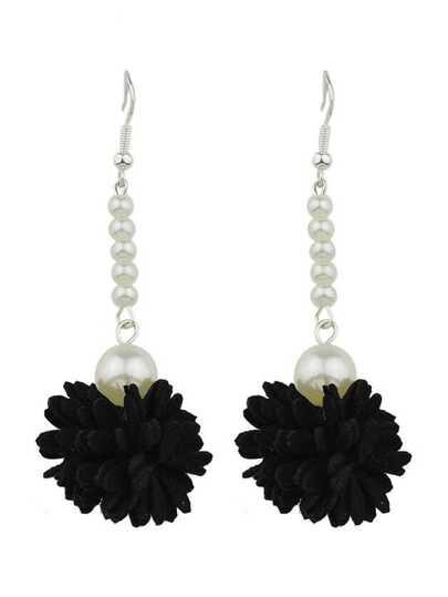 Black Color Imitation Pearl Flower Danling Earrings