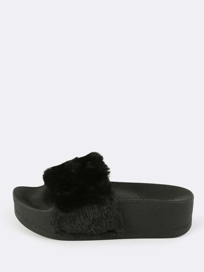 Furry Flatform Slides BLACK