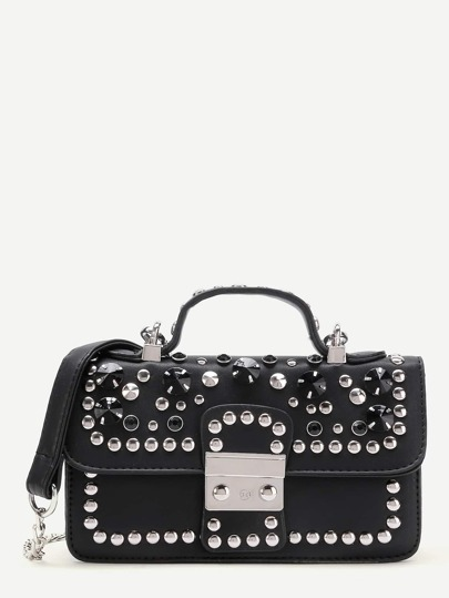 Studded Embellished Chain Bag With Handle