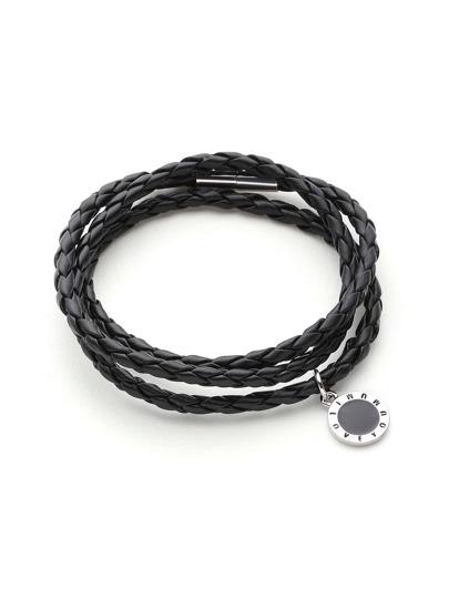 Metal Circle Detail Woven Layered Bracelet