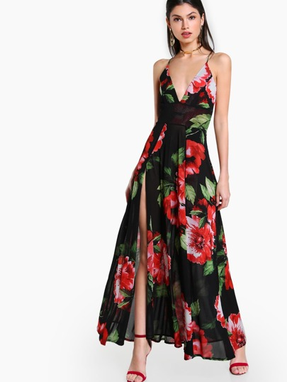 Sheer Floral Print Spaghetti Strap Dress BLACK