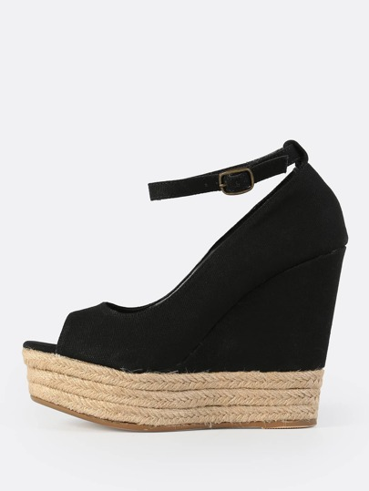 Ankle Strap Peep Wedges BLACK