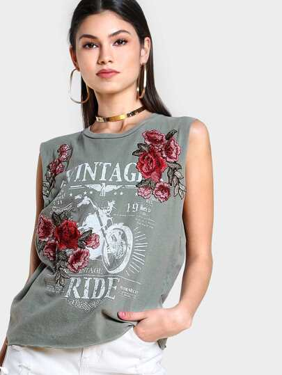 Vintage Embroidered Sleeveless Tee OLIVE