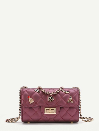 Lipstick And Tower Detail Quilted Chain Bag